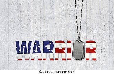 militar, cão, etiquetas, e, guerreira, bandeira, texto