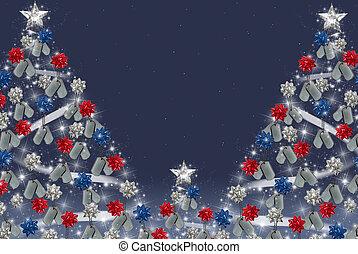 militar, cão, etiquetas, ligado, árvore natal