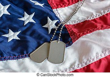 militar, cão, etiquetas, ligado, bandeira