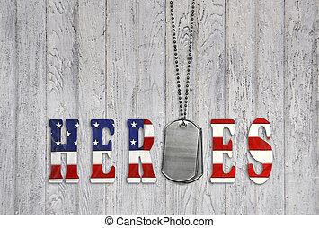 militar, cão, etiquetas, para, heróis