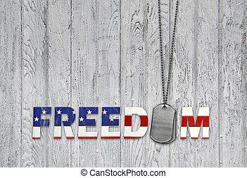 militar, cão, etiquetas, para, liberdade