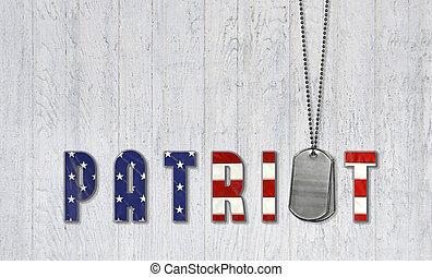 militar, cão, etiquetas, para, patriota