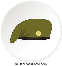 militar, círculo, boné, ícone