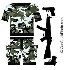 militar, camisa, arma