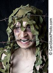 militar, camuflado, homem