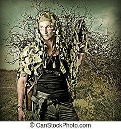 militar, camuflado, homem, com, automático