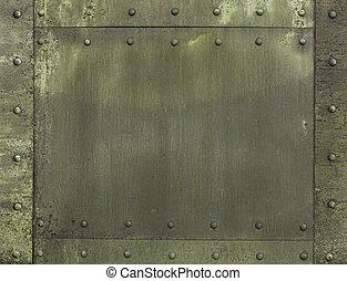 militar, caqui, pintado, metal, armadura, plano de fondo