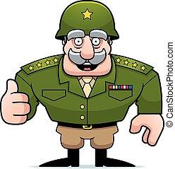 militar, caricatura, general, arriba, pulgares