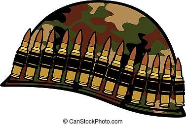 militar, casco, munición, cinturón