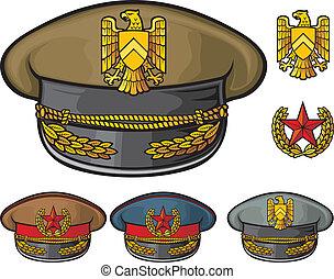 militar, chapéus
