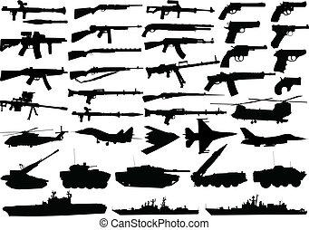 militar, clipart, conjunto