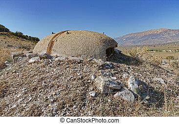 militar, comunista, albania, arcón, concreto, ruinas, era, ...