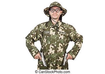 militar, conceito, soldado, engraçado