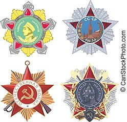 militar, conjunto, soviético, órdenes