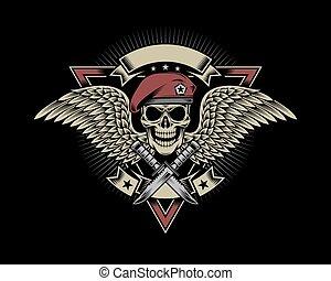 militar, cráneo, con, alas