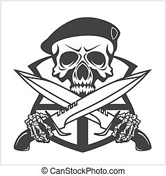 militar, dagas, -, galón, cráneo