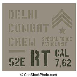militar, delhi, desenho, prato