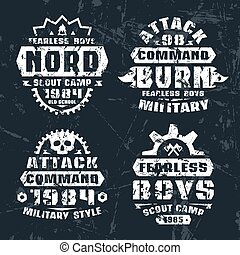 militar, e, espiar, emblemas