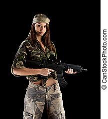 militar, ejército, niña