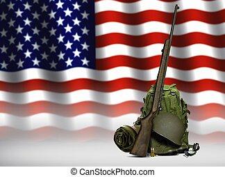 militar, engranaje, y, bandera estadounidense