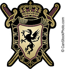 militar, escudo, desenho