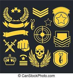 militar, especiais, unidade, remendo