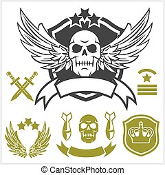 militar, especiais, unidade, remendos