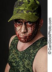 militar, estilo, camuflagem, ligado, a, soldier's, rosto