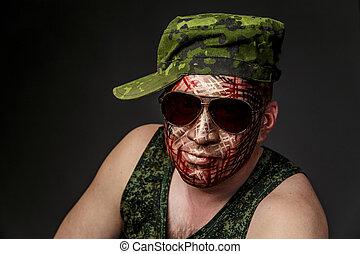 militar, estilo, camuflaje, en, el, soldier's, cara