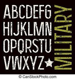 militar, estilo, fuente, serif, sin