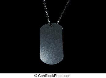 militar, etiqueta, en, negro