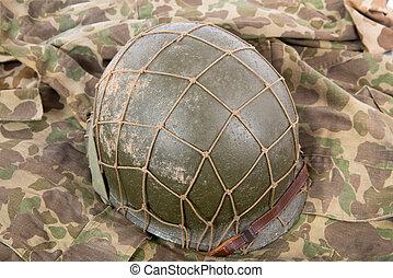 militar eua, capacete, de, a, segundo, mundo, guerra