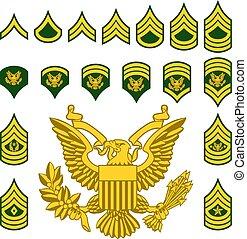militar, exército, alistado, grau, insignia