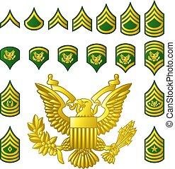 militar, exército, alistado, graus, insignia