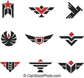 militar, exército, emblemas, streng