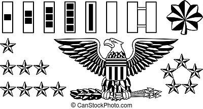 militar, exército, oficial, grau, insignia