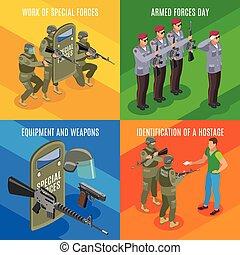 militar, forças especiais, isometric, conceito