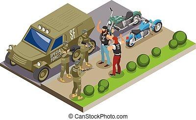 militar, fuerzas especiales, isométrico, composición