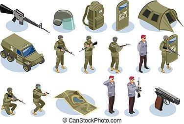 militar, fuerzas especiales, isométrico, iconos