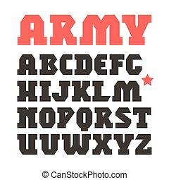militar, geométrico, serif, fuente