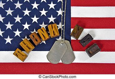 militar, gracias, en, bandera estadounidense