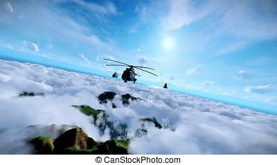 militar, helicópteros, animação, formação, cruzar, acima,...