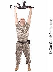 militar, hombre, ejercicio