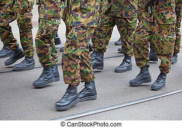 militar, hombres