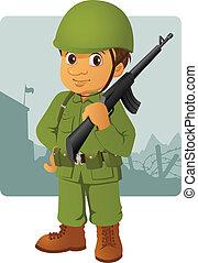 militar, homem, com, seu, rifle