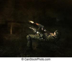 militar, homem, guerreira, tiros, de, dois, armas