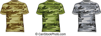 militar, homens, camisas