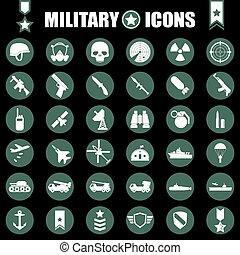 militar, iconos, conjunto
