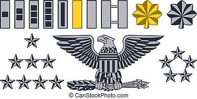 militar, insignia exército, graus