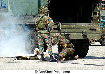 militar, intervención, herido, soldier.